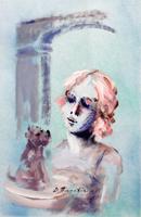 Quadro di  Umberto Bianchini - Il cucciolo détrempe papier