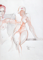 Quadro di  Claude Falbriard - Donne acuarela papel