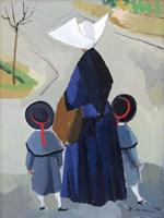 Quadro di  Rodolfo Marma - Monachina e bimbe Óleos tela