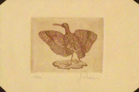 Quadro di  firma Illeggibile - Anatra lithographie papier jaune