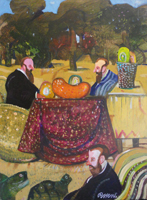 Quadro di  Antonio Possenti - In giardino huile carton toilé