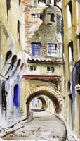 Работы  Rodolfo Marma - Via dei Girolami watercolor бумага