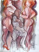 Quadro di  Claude Falbriard - Figure mixta papel