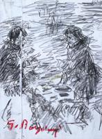 Quadro di  Guido Borgianni - Dal vinaio crayon papier