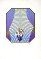 Quadro di  firma Illeggibile - Fiori e tenda lithographie papier