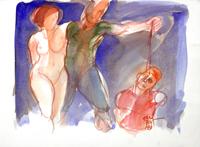 Quadro di  Claude Falbriard - Figure acuarela papel
