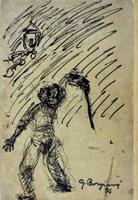Quadro di  Guido Borgianni - Vandalo charbon de bois papier jaune