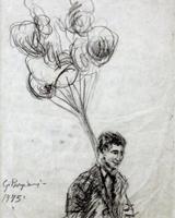 Quadro di  Guido Borgianni - Festa del grillo carbón vegetal papel