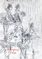 Quadro di  Guido Borgianni - Ballerine charbon de bois papier