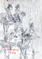 Quadro di  Guido Borgianni - Ballerine carbón vegetal papel