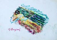 Quadro di  Guido Borgianni - Sulla panchina pastel papel