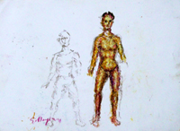 Quadro di  Guido Borgianni - Figura pastel papel