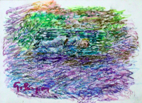 Quadro di  Guido Borgianni - Riposo sulla panchina pastel papel