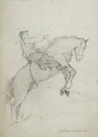 Quadro di  Carlo Domenici - A cavallo crayon carton