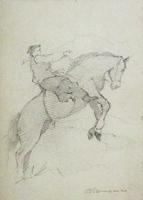 Quadro di  Carlo Domenici - A cavallo lÁpiz cartÓn