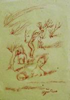 Quadro di  Luigi Pignataro - Figure sanguina papel amarillo