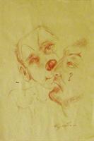 Quadro di  Luigi Pignataro - Volti del circo sanguina papel amarillo
