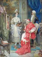 Quadro di  Pablo Salinas - Il giudizio papale aquarelle papier sur tableau