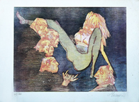 Quadro di  Mino Maccari - I guardoni litografía papel