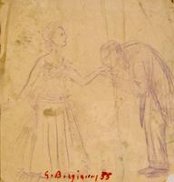 Quadro di  Guido Borgianni - Mea Domina lÁpiz colorado papel