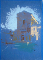 Quadro di  Gino Tili - Chiesa del Carmine pastel papel