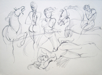 Quadro di  Claude Falbriard - Figure e cavalli pluma papel