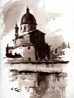 Работы  Gino Tili - La chiesa del Cestello watercolor бумага