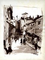Работы  Gino Tili - Per le vie di città watercolor бумага