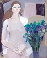Quadro di  Bruno Paoli - Donna e fiori huile toile