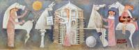 Quadro di  Adorno Bonciani - Concerto al Battistero huile panneaux durs