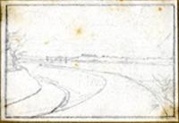 Quadro di  Telemaco Signorini - Paesaggio crayon papier