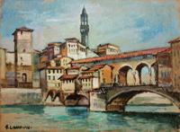 Quadro di  M. Landucci - Ponte Vecchio Óleos tableros duros