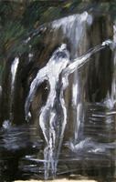 Quadro di  firma Illeggibile - Donna alla cascata huile toile
