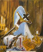 Quadro di  firma Illeggibile - In chiesa huile carton toilé