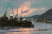 Quadro di  firma Illeggibile - Pescatori huile carton toilé
