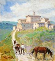 Quadro di  Gino Paolo Gori - Mulattiera a Pelago huile toile