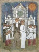Quadro di  Adorno Bonciani - Matrimonio a Santa Croce mélange papier de riz