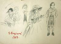 Quadro di  Guido Borgianni - Figure dal Settecento crayon papier