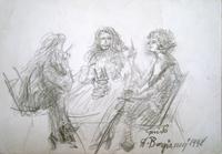 Quadro di  Guido Borgianni - Figure al tavolo lÁpiz papel