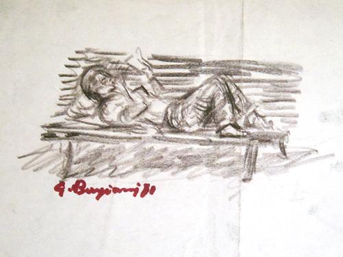 Guido Borgianni - Uomo che legge su una panchina