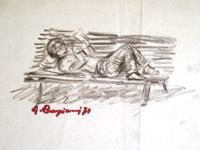 Quadro di  Guido Borgianni - Uomo che legge su una panchina lÁpiz colorado papel