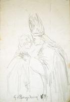 Quadro di  Guido Borgianni - Papa con giovine lÁpiz papel