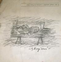 Quadro di  Guido Borgianni - Uomo  sdraiato su panchina crayon papier