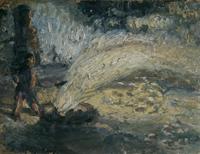 Quadro di  Guido Borgianni - Uomo e fontana Óleos cartÓn