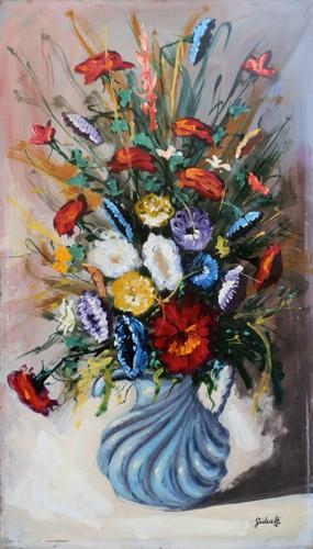 Quadro di s guidarelli vaso di fiori for Fiori dipinti a olio