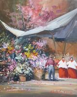Quadro di Norberto Martini  Al mercato dei fiori