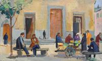 Quadro di Rodolfo Marma  Angolo di mercato a S. Spirito