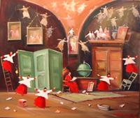 Quadro di  Norberto Martini - La stanza dei ricordi huile toile