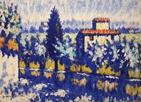 Quadro di Dino Migliorini - paesaggio Toscano olio tavola