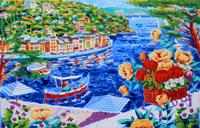 Work of Athos Faccincani  Intorno a Portofino le nostre riflessioni e un cesto di fiori ( litopolimaterica )
